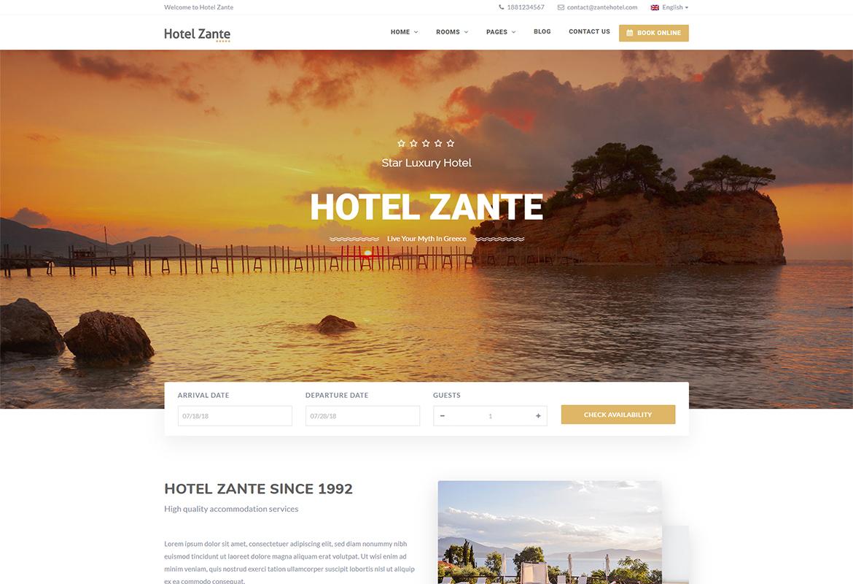 Hotel Zante - Hotel WordPress Theme